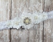 White Flower Cluster on Lace Elastic Headband - Lace Headband - Baby Toddler Newborn - Headband - Photo Prop - Baptism - Christening