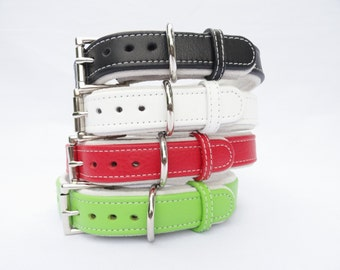 Handmade Dog collar adjustable leather dog collar in array of color combonations