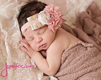 Baby Headband,Baby Flower Headband,Flower Baby Headband,Flower Headband,Newborn headband,Leslie Headband