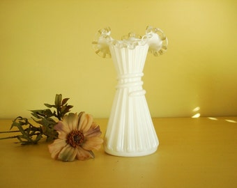 Milk glass vase, Fenton Silver Crest Wheat Vase, ware no. 5858 Fenton Art Glass, Silvercrest vase