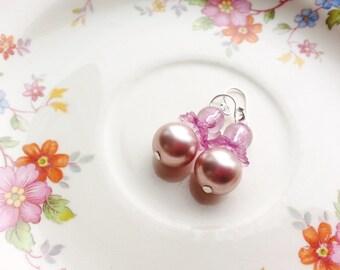 Delicate Pink Bead Earrings Pink Pearls Plastic Round Botanical Simple Minimalist Flower Dusty Rose Purple Naturalist Silver Lightweight