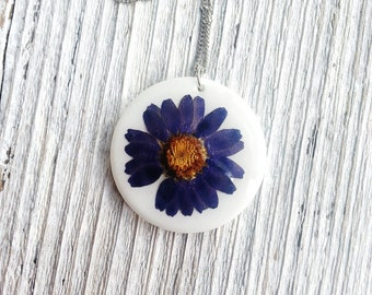 Daisy Necklace Blue Real Pressed Flower Nature Inspired Botanical Minimalist White Bridal For Her Naturalist Garden Ceramic Delicate