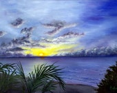 Caribbean Sunset - Original Oil Painting on 12x16 Wrapped Canvas