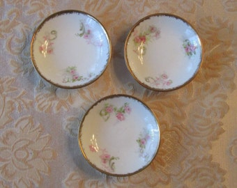 China Salt Dishes Set of 3, Floral, Made in France