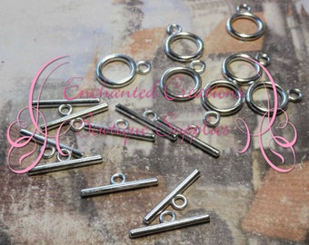 Large Silver Toggle Clasps, 10 Sets