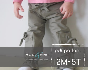 Girly Cargo Pants pattern and tutorial 12M-5T PDF baby, toddler, chinos sport pants