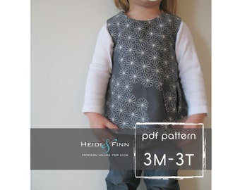 Sweet Pocket Pinafore pattern and tutorial 3M- 3T easy sew pdf