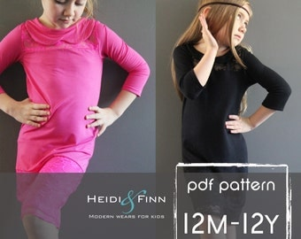 Gatsby Dress PDF pattern and tutorial 12m -12 EASY SEW tunic dress jumper