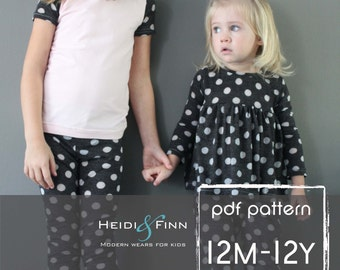 All you Need Jammies pajamas pattern pdf 12M-12y leggings tee shirt nightgown  unisex