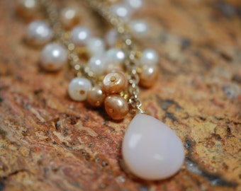 teardrop mother of pearl, freshwater mauve, peach, white pearls. gold plated, november birthstone, elegant bridal jewelry. gift idea jewelry