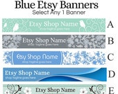 Shop Banners - Etsy Shop Banners - Blue Etsy Banners Selections 1