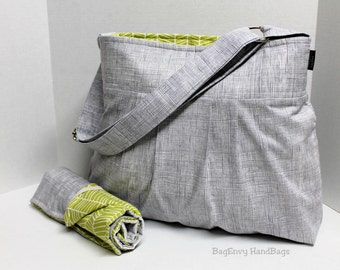 Monterey Diaper Bag Set -  Medium - Heath Crosshatch  In Grey with Herringbone  - OR Custom Design Your Own