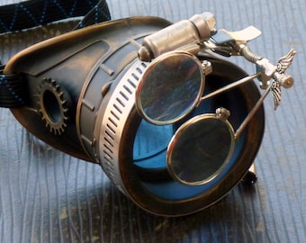 Steampunk goggles monocle eyepatch costume biker glasses blue lens cyber gothic