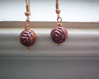 Purple Earrings - Rosebud  Earrings - Copper Earrings -Copper And Purple Metal Rosebud Earrings