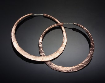 Large Copper Hoop Earrings // 1.75 inch Hammered Copper Big Boho Hoops