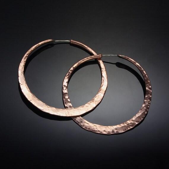 Large Copper Hoop Earrings // 1.75 inch Hammered Copper Big Boho Hoops