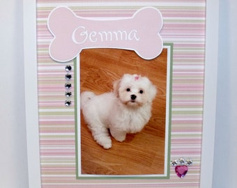 Dog Picture Frame Personalized - Pink and Green Stripe Dog Bone Theme - Your Choice of 8x10 Frame Included - Other Styles Available