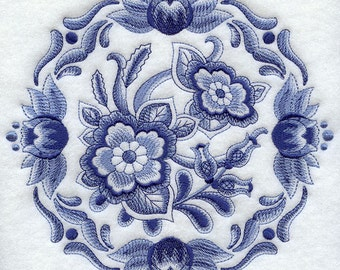 DELFT FLORAL MEDALLION 1- Machine Embroidery Quilt Blocks (AzEB)
