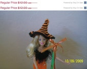 ON SALE Barbie Doll Hand Knit Halloween Dress and Hat