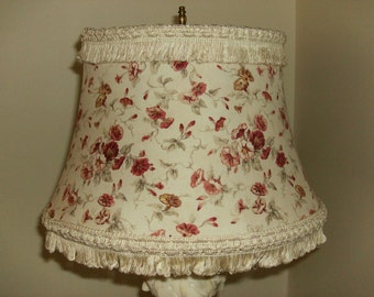 Floral Lampshade with Fringe