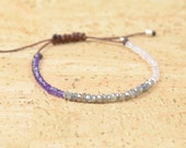 Labradorite quartz and amethyst bracelet
