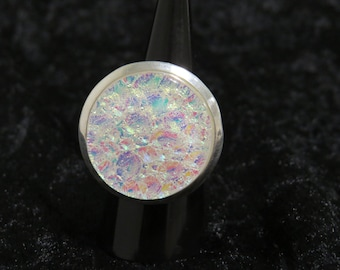Dichroic Glass Ring - Fused Glass Jewelry - Fused Glass Ring - Opal Ring - Glass Ring - Dichroic Jewelry - White Opal Glass Ring -