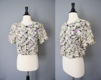 CLEARANCE 80s Bolero / vintage 1980s Natural Abstract Painterly Floral Cropped Short Jacket / Medium
