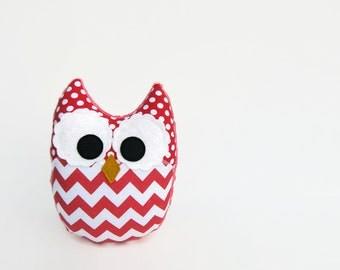 Plush Owl Stuffed Toy Coral Chevron Rouge
