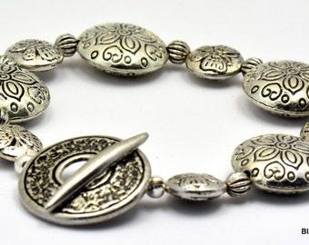 Sale / On Sale / Clearance Jewelry / Jewelry on Sale / Marked Down / Butterfly Garden Pewter Silver Beaded Bracelet - BR00523