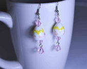 Pink Faceted Crystal Lampwork Earrings for Easter