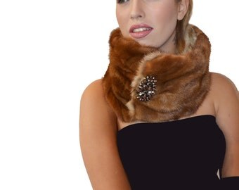 Brown Mink Reversible Fur Neck Warmer