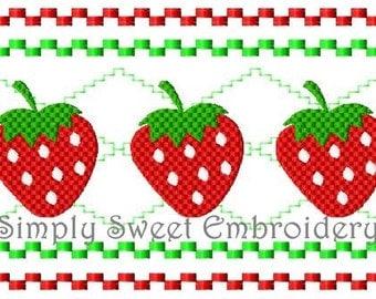 Strawberry Faux Smocking Machine Embroidery Design