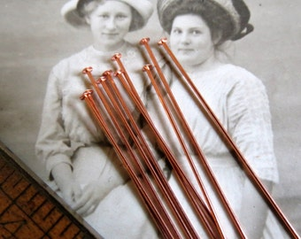 NEW Pure Copper Headpins . (10 pieces) 2 inches . 22 guage