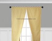 Yellow Curtains Zig Zag Chevron Curtain Panels Drapery Window Treatments Set Pair Yellow Stripe Home Decor