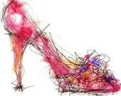 Spring Pump Shoe Print, Shoe Art