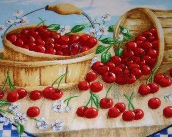 Two Place mats, cherry place mats, summer place mats. a pair of place mats - design one