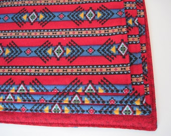 SALE Red Southwestern Placemats Reversible Red and Blue Aztec Placemats Sedona Placemats Red Placemats Blue Southwestern Placemats