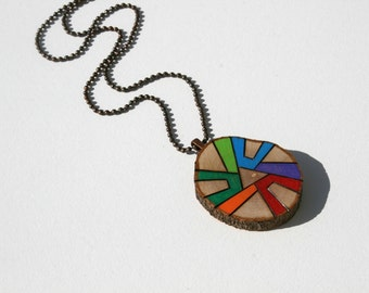 Wood Slice Pendant Necklace, Wood Burned Original Art Colored with Prismacolor Pencils