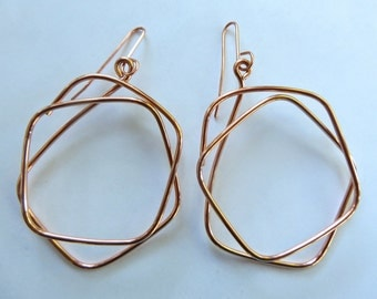 Copper Geometric Earrings, Earrings of Copper squares, Shapes in Copper,