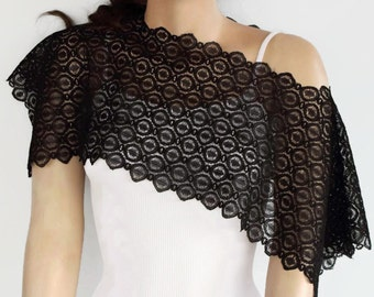 Black Lace Shrug, Lace Bolero, Weddings Capele, Evening Dress Cover-up, Unique Design