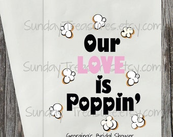 20 Bags Our Love is Poppin / WEDDING Bridal Shower Party Favor Bags / Hearts / Gift Bag / Cookie Candy Popcorn Bag / Personalized 3 Day Ship