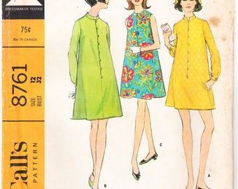 Vintage 1967 McCall's 8761 Sewing Pattern Misses' and Junior's Dress in Two Versions Size 12 Bust 32