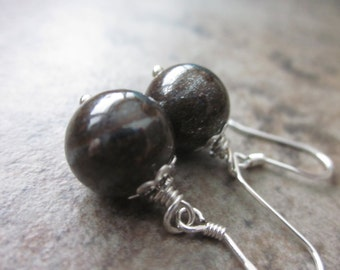 Chocolate Brown Gemstone Earrings, Natural Bronzite Rounds, 925 Silver, Neutral, Versatile, For Her, Autumn Fashion, Stocking Stuffer