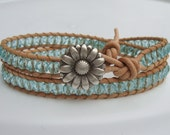Aquamarine Beaded Leather Wrap Bracelet with Daisy Button