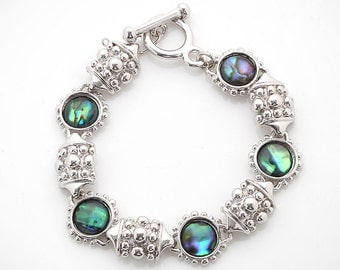 Mother of Pearl Circle Design Colorful Dark Green Shell Link Bracelet