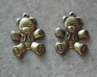 Teddy Bear Charms- Vintage Stampings- Antique Gold Plated-  Brass- Set of 2