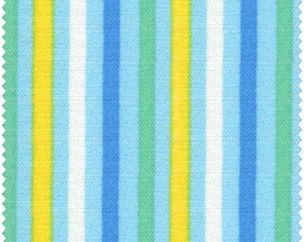 Simple Coordinates Cotton Fabric Quilt Gate  CR8876-416  Small Mulit Stripes on blue