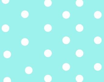 Aqua White Basic Dot  by Fabriquilt Baby Talk Fabric 100-2597