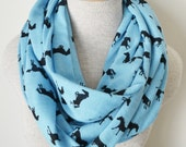 Equestrian Infinity Scarf - Horse Scarf - Black and Turquoise