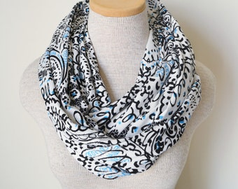 READY TO SHIP - Infinity Scarf - Paisley Light Blue & Black Charmuese
